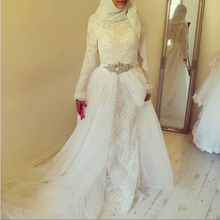 robe de marriage White Vintage Lace Mermaid Long Sleeves Muslim Wedding Dresses With Hijab 2017 Dubai Arabic Wedding Gowns