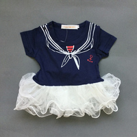 Baby Girl Sailor Suit Lace Romper Fashion Summer Newborn Navy Style Baby Romper Suit Kids Baby