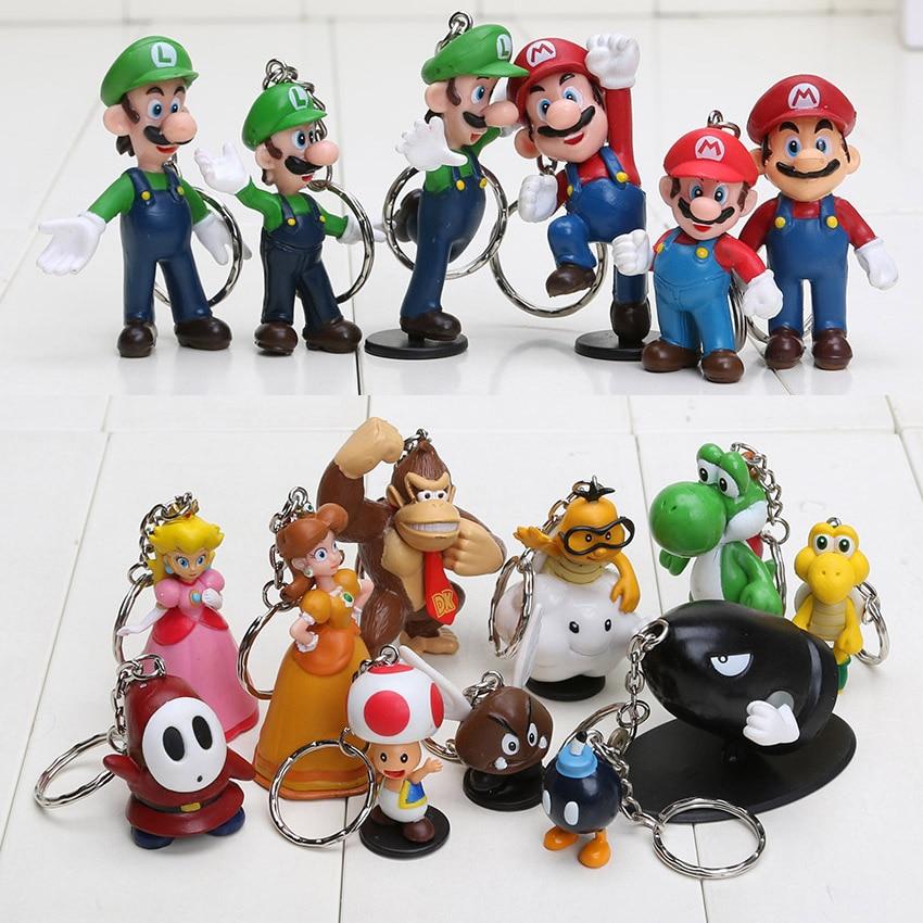 84acb5fcb618e 18 pçs set Super Mario Bros chaveiro Pingente de Cogumelo Bowser Princesa Yoshi  Luigi DONKEY KONG Figuras de Ação Brinquedo Modelo em Figuras de ação   Toy  ...