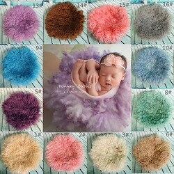 Neugeborenen Fotografie Requisiten Korb Stuffer Schicht Runde Filz Wolle Decke Flusen Gefilzt Lockige Wolle Studio Hintergrund