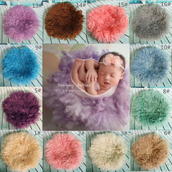 Newborn Photography Props Basket Stuffer Layer Round Felt Wool Blanket  Fluff Felted Curly Wool Studio Backdrop