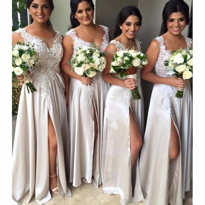 Panjang pakaian gadis pengisi pengantin renda yang panjang 2017 Split seksi bahagian sudu garisan satin lengan lengan gaun parti perkahwinan ditambah saiz maxi 2-26w