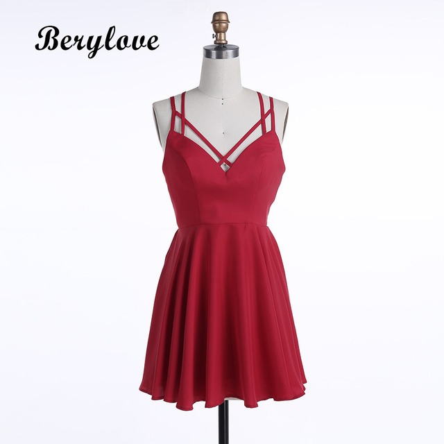d107286a30 BeryLove Simple Short Red Homecoming Dresses 2018 Mini Spaghetti Straps  Cocktail Party Dresses Short Prom Dress Real Photos