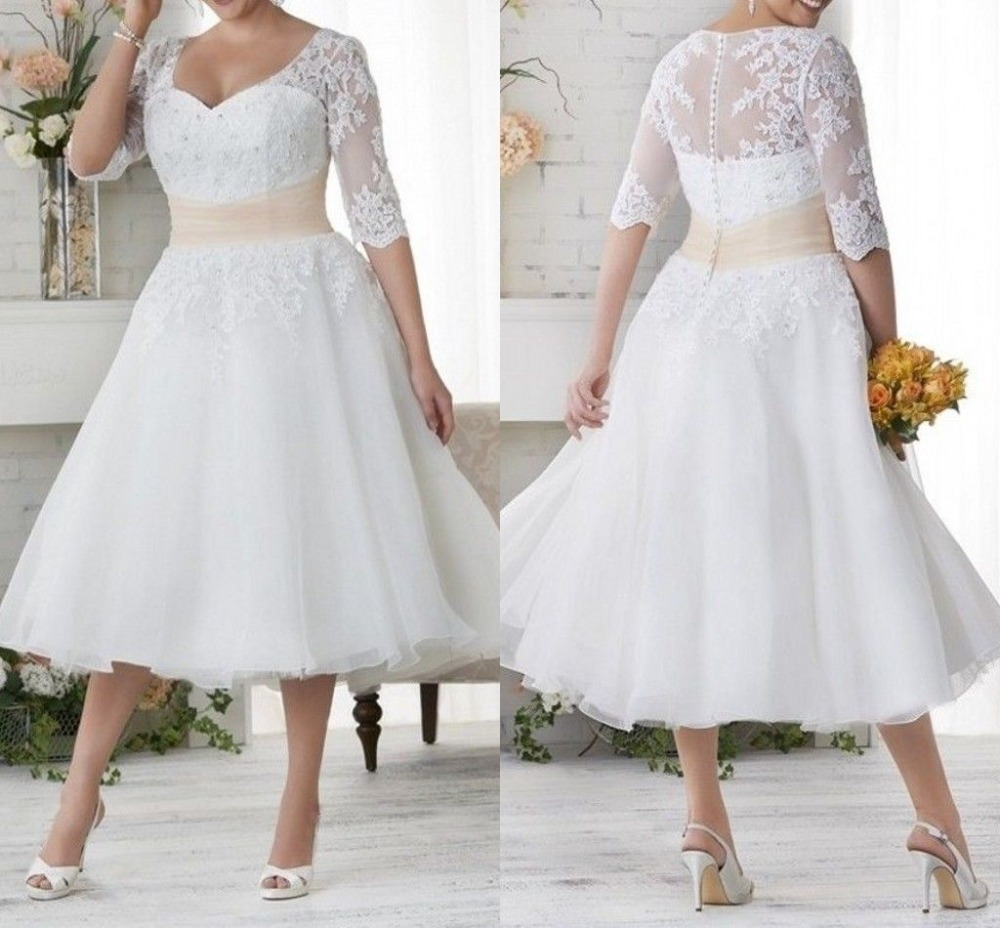 Vintage Tea Length Plus Size Wedding Dresses A Line Lace