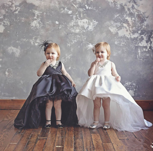 Satin High Low   Flower     Girls     Dresses   for Weddings First Communion   Dress     Girl   Kids