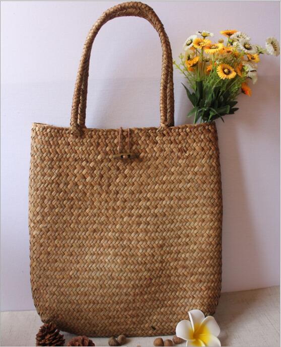Kinesisk Immateriell Kulturarv Willow Straw Bag Stor Stro Handväskor - Väskor för bagage och resor - Foto 3