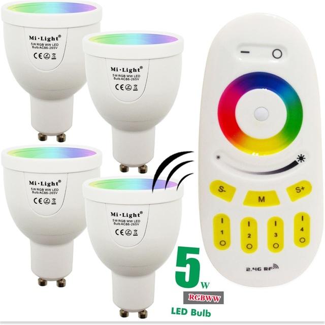 5 w mi luz lâmpada led lâmpada gu10 220 v regulável rgbww luz 86-265 V Spotlight Interior + 2.4G Sem Fio RF LED Remoto controle