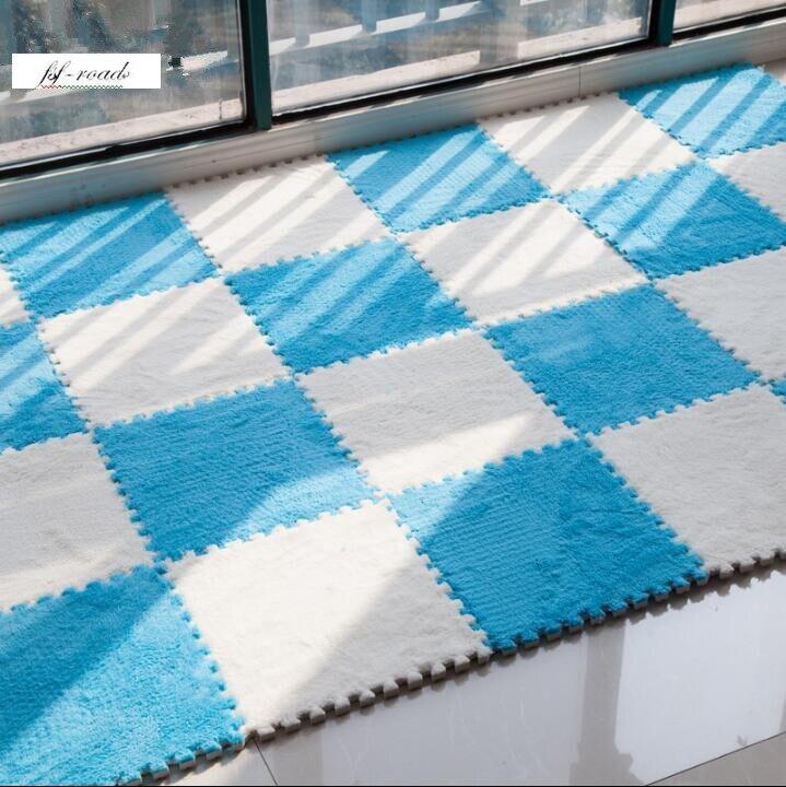 24pcs Puzzle Mats Carpet Pile Plush Thick Foam Green Living Room Bedroom Puzzle Carpet Baby Play mat