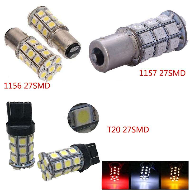 Bulbs Error Free COB 1156BA15S/1157/T20 5050 27SMD Lights Parking License Plate Light Styling White/ Red /yellow