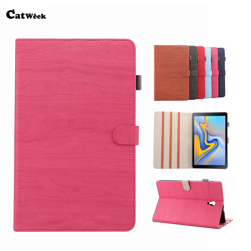 <font><b>SM</b></font> <font><b>T590</b></font> Slim PU Leather <font><b>Case</b></font> Cover Wood Style Retro Smart Skin Stand For Samsung Galaxy Tab A 10.5 <font><b>T590</b></font> T595 T597 Tablet Fundas image