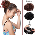 10 pieces High Quality Women Fashion Elastic Curly Chignon Lady Synthetic Fake Hair Bun Hair Pad Hairpieces Styling Tool perucas