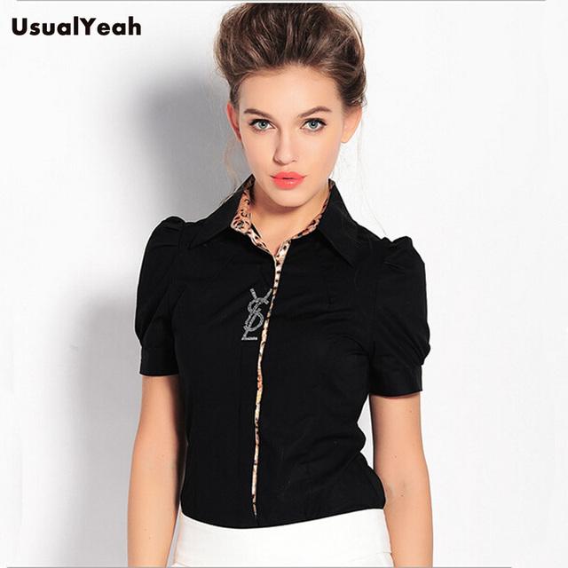 Novo 2017 Moda Feminina Leopardo Patchwork Camisa Corpo Verão de Manga Curta Formal Escritório Blusas Blusas Black White S-XXL SY0149