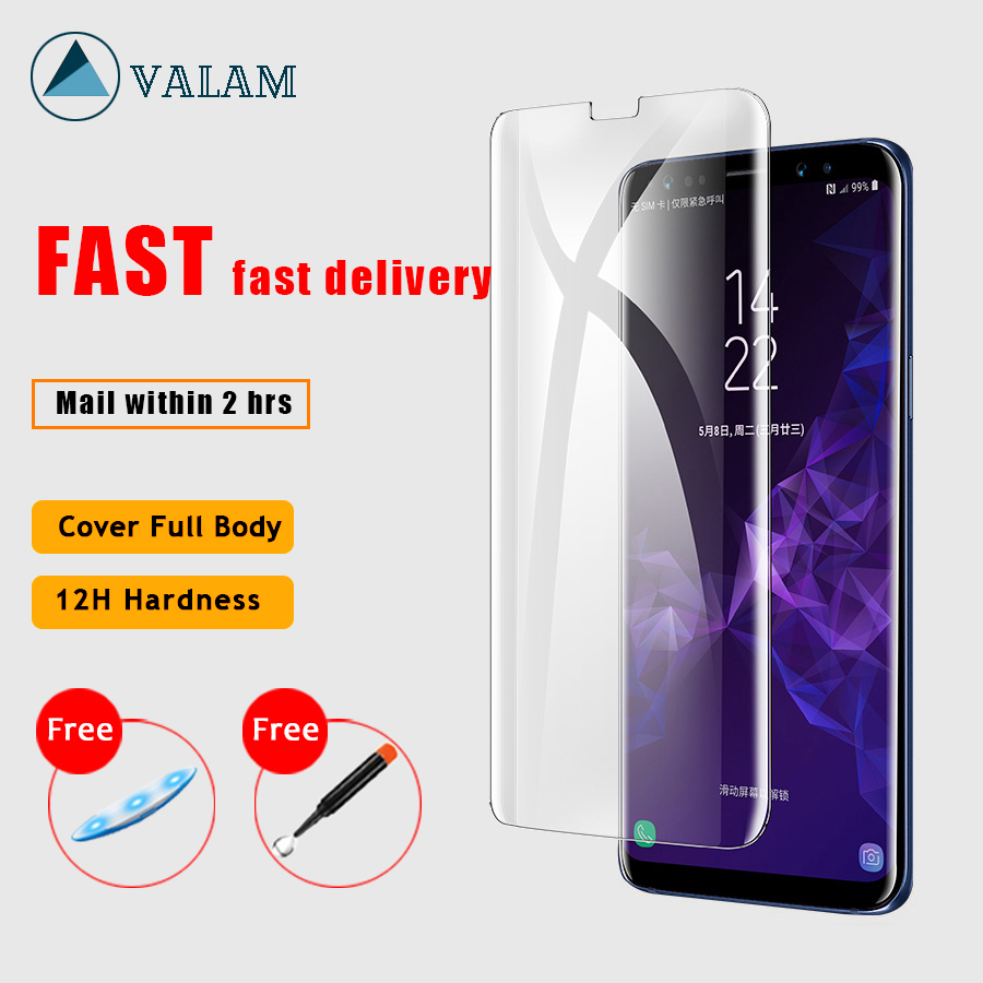 VALAM Clear UV Glue Full Tempered Glass For Samsung Galaxy S7 S8 S9 S10 Cover Nano Note8 Note9 Film light