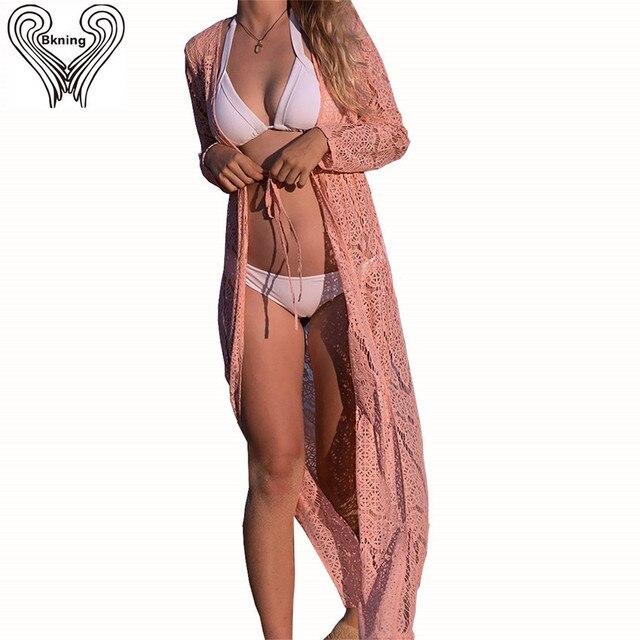 3bac3109e5 Bkning Beach Cover Up Long Dress Women Bikini 2018 Long Sleeve Cover Up  Playa De La Mujer Swimwear Cover Ups Summer Beachwear