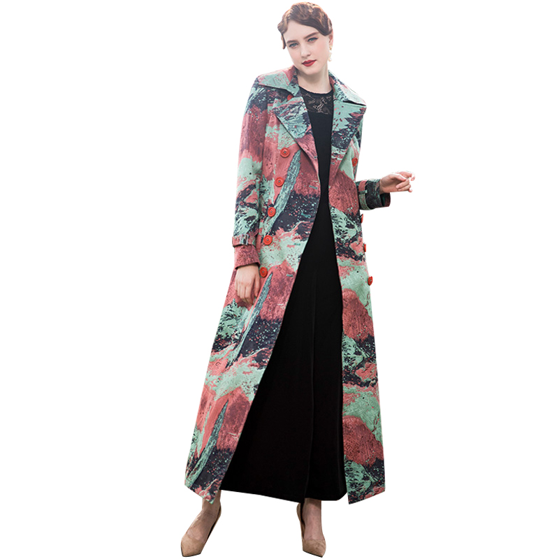Trench Coat Long Sleeve Women Overcoat Elegant High Quality Flowers with Belt Printed Slim Fall Outwear 8017