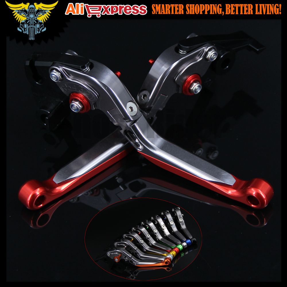Red+Titanium CNC Adjustable Folding Extendable Motorcycle Brake Clutch Levers For Yamaha FZ1 FAZER 2001 2002 2003 2004 2005 adjustable cnc billet alu long folding adjustable brake clutch levers for yamaha fz6 fazer 1997 2003 1998 1999 2000 2001 2002