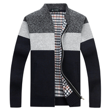 New Arrival Men Sweaters Casual Wool Warm Thick Warm Cardigan Striped Stand Collar Cotton Material Zipper Thin Wool Sweater
