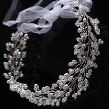 Длинные серебристые жемчужные хрустальные повязки для волос ручной работы 42 см для свадьбы свадебные аксессуары для волос бусины Стразы по...