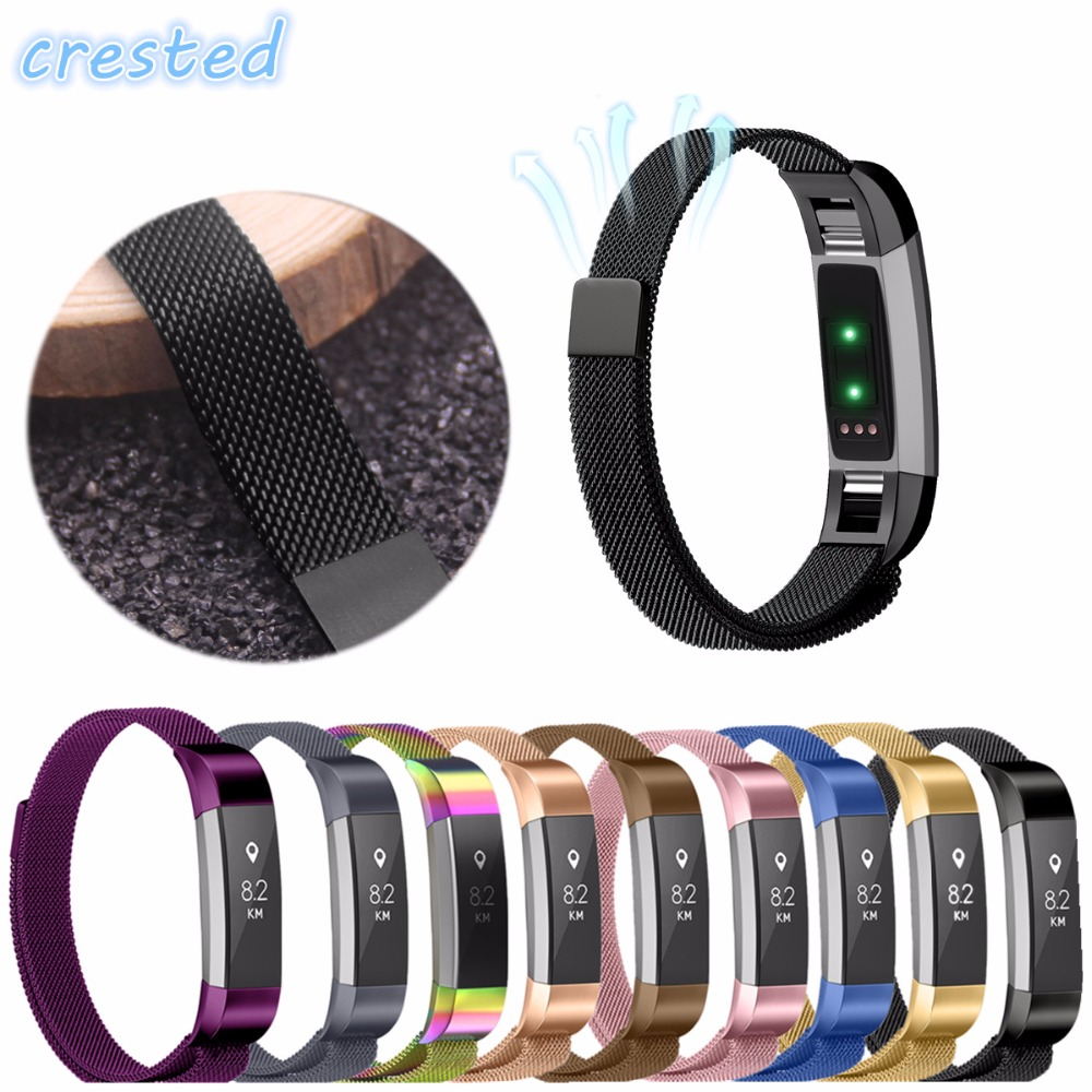 CRESTED Milanese Magnetic Loop Stainless Steel Magnetic Lock Band for Fitbit Alta HR/Alta Replacement Watch band Strap crested luxury magnetic milanese loop wrist strap