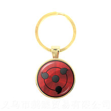 2018 New Japan NARUTO Sharingan Keychain Uzumaki Naruto Red Eye 25mm Glass Cabochon Keyring Gift For Friends(China)