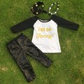 fall clothes new design gold print boutique suit girls pant sets long sleeves kids fall outfits  with necklace and headband