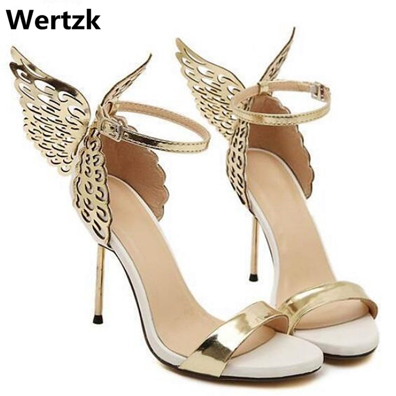 Women Pumps Sandals Wings High-Heel Butterfly Sexy Peep-Toe for Party-Shoes E225