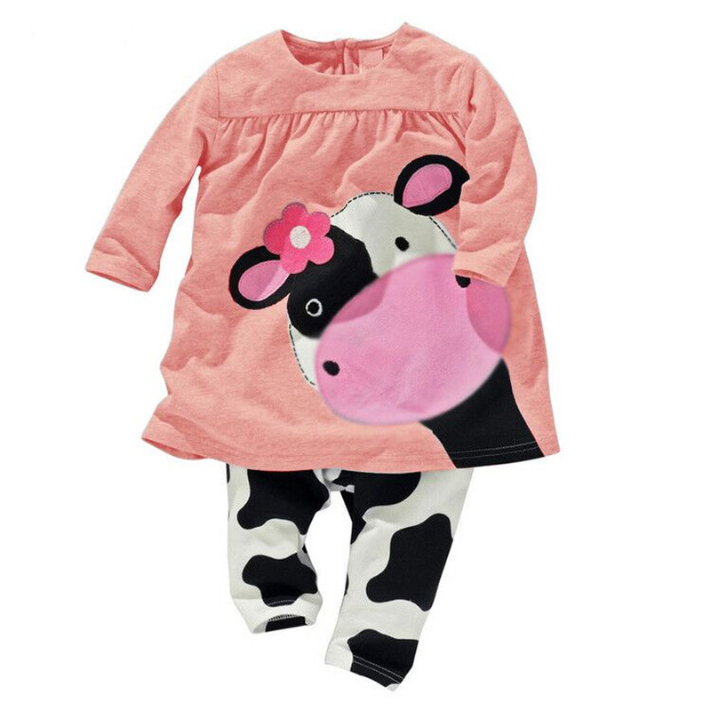 Winter Hot Sale Baby Girl Clothes Casual Long-sleeved T-shirt+Pants Suit Tracksuit The Cow Suit Of The Girls retail girls baby clothes little cow modeling clothes 100% cotton casual t shirt pants suit tracksuit 2