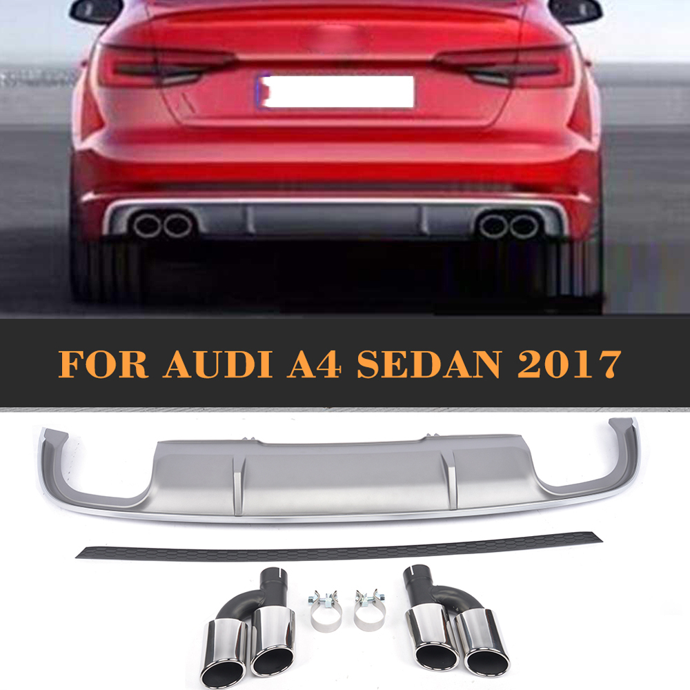 Rear Bumper Lip Diffuser With Exhaust Tips For Audi A4 B9