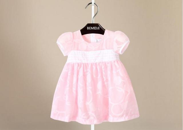 016 Лето детское платье хлопка Розовый элегантный Дети Платье Девушки Младенческой слоеного рукав ребенок принцесса платье новорожденных девочек одежда
