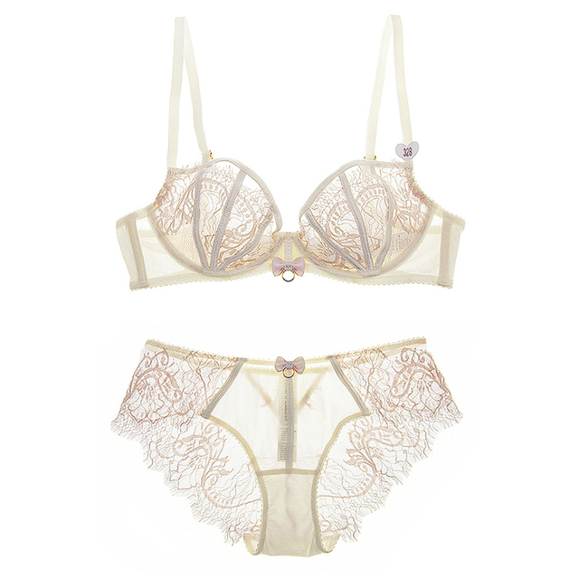 ATTENDRE 2017 French Bra and Panty Set Super Soft Touch Intimacy See Through Eyelashes Lace Women's Underwear Black Sexy Bra Set