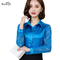 Silk And Lace Stitching Long Sleeve Blouses Women Vintage Turn Down Collar Blouse Top Plus Size