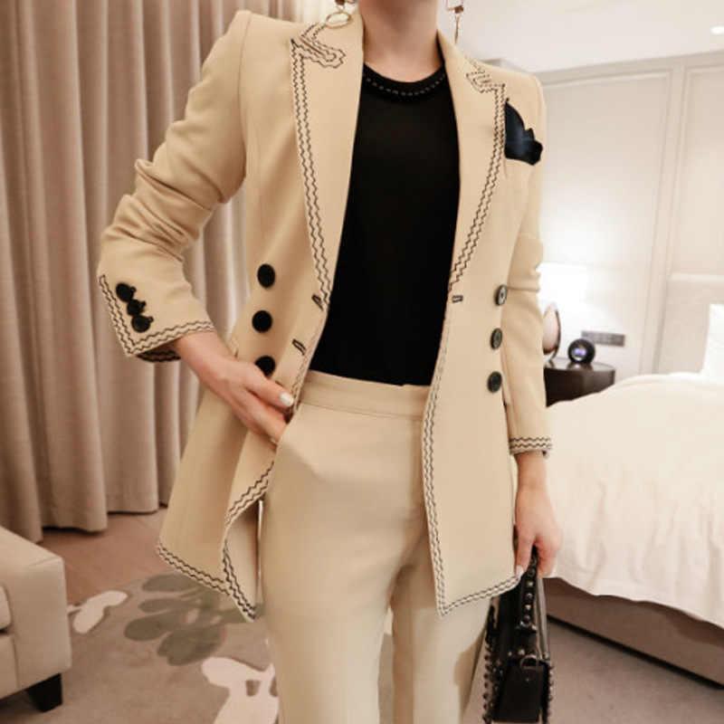 女性のビジネスオフィススーツスリムフィットソリッドカラーダブルブレストブレザースーツとパンツスーツの女性高品質の女性スーツ