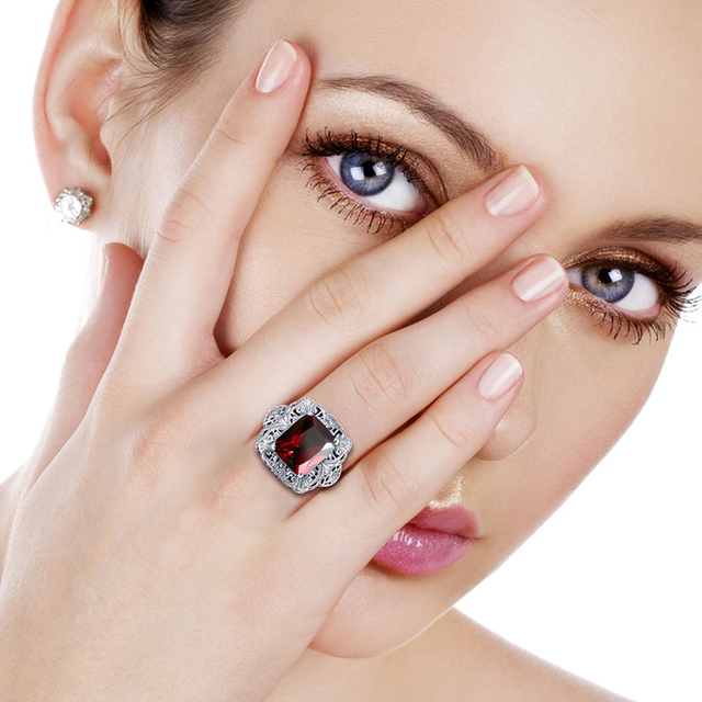 Fashion Jewelry Big Ring Hollow Out Created Garnet CZ Stone Concave Cut Women Ring Soild 925 Sterling Silver Men Vintage Jewelry