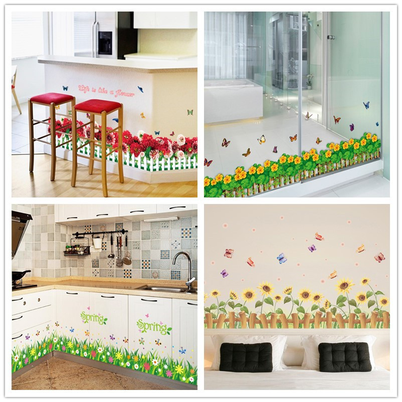 % colorful flowers butterflies fences baseboard wall decals home decorative stickers living bedroom mural art diy 3d posters