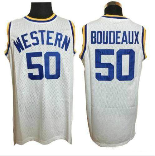 new concept 6584e 643ff Men Western University #50 Boudeaux Basketball Jerseys Cheap White  Sleeveless Vintage Shirts Stitched-in Basketball Jerseys from Sports & ...