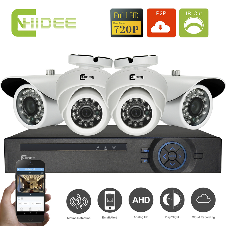 Cnhidee HD CCTV Security 720P 1 Megapixel 4CH AHD DVR KIT Day Night IR Camera System High Definition Video Surveillance DIY Kit  cnhidee home security camera system nightvision ahd 8ch 720p ir 1200tvl dvr hd kit video surveillance system 8ch outdoor kit set