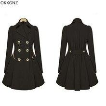 Для женщин тонкий средней длины пригородных пальто коммутирующих Тренч двубортный бежевый черный темно-Тренч NobleTemperament