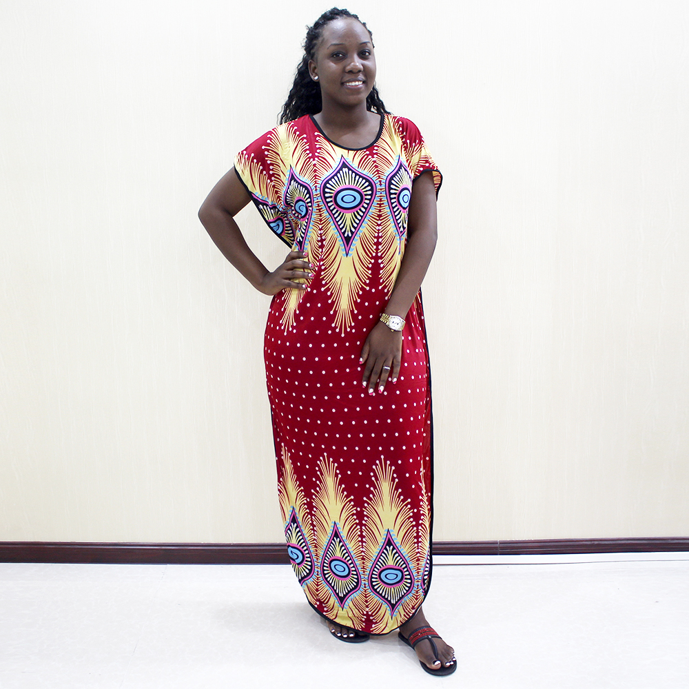 2019 New Fashion African Dashiki Traditional Print Maroon Color Short Sleeve Long Dress