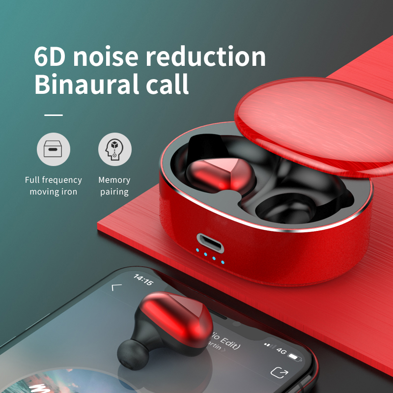 2019 T50 Bluetooth Headset 5.0 Stereo 6D Noise Cancelling Headphones Wireless Headphones 20 Meters Signal Automatic Pairing