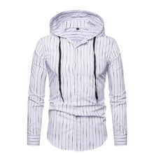 T-shirt for men 2019 Autumn Breathable Long-sleeve Cotton Shirt Casual Men's clothes Striped Tees with Hat S-XXL Clothing C08 недорого