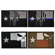 3D Military Embroidery Badge Armband Texas Punisher Badge American Flag Tactical Military Assembly Embroidery Cufflinks Badge embroidered patches united states montana state flag patch tactical 3d national flags army armband badge