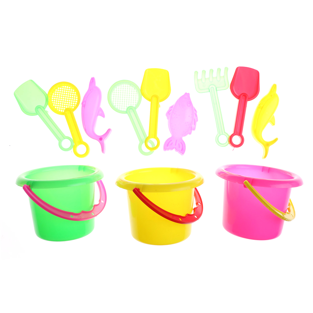 Hot 4pcs/set Sand Sandbeach Kids Beach Toys Castle Bucket Spade Shovel Rake Water Tools High-grade Beach Barrels Beach Toys #4