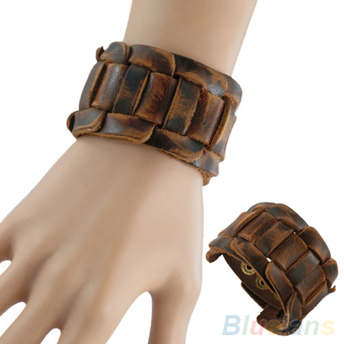 Men Retro Weave Genuine Leather Belt Wristband Bangle Snaps Fastener Cuff Bracelet 1OWD
