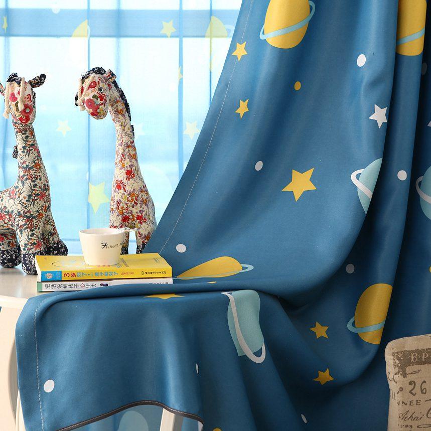 Blue Planet Print Curtains For Children Room Kids Boys Sons Nursery Kindergarten Modern Simple French Window Drapes Wp355C