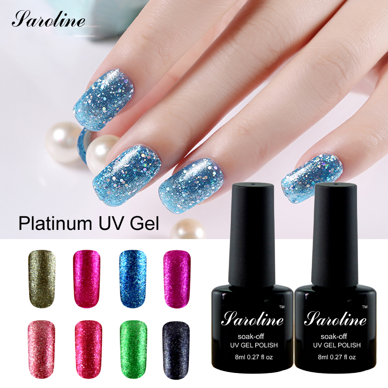 Saroline Shining Nail Gel Polish Uv Nail Varnish Gel Paint For Design 3d Lucky Colors Platinum