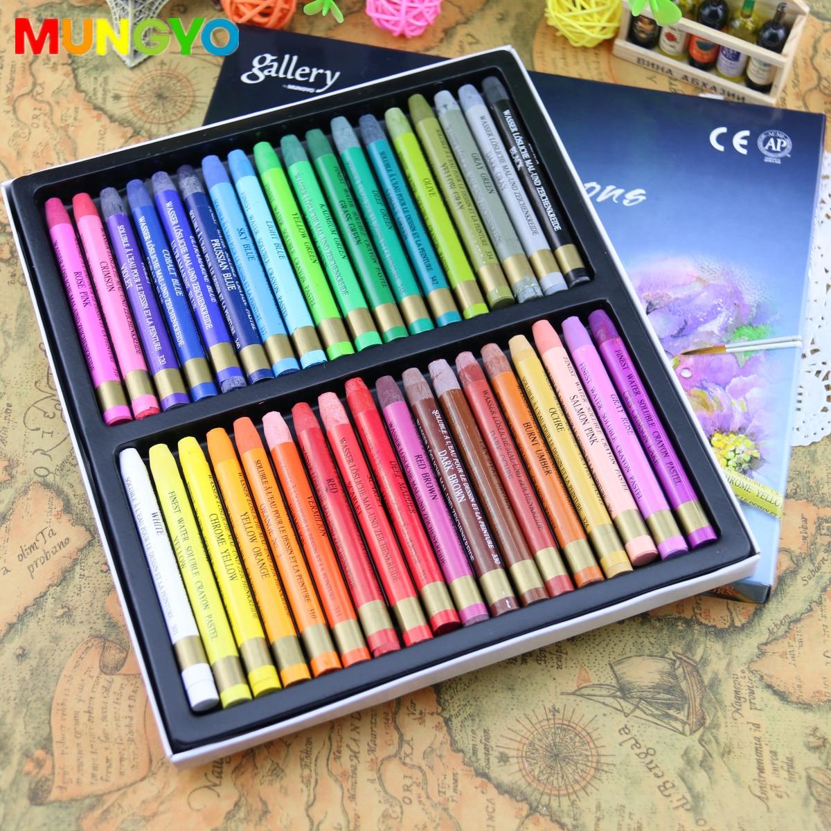 Mungyo Non-toxic Watercolors Crayons 12/24/36 Colors Assorted Set Art Supplies