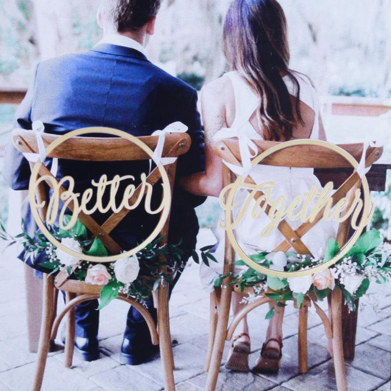 Bride Groom Chair Wood Signs Rustic Wedding Wooden Chair Pendant Decor Photo Props Wedding Decoration 2pcs/lot