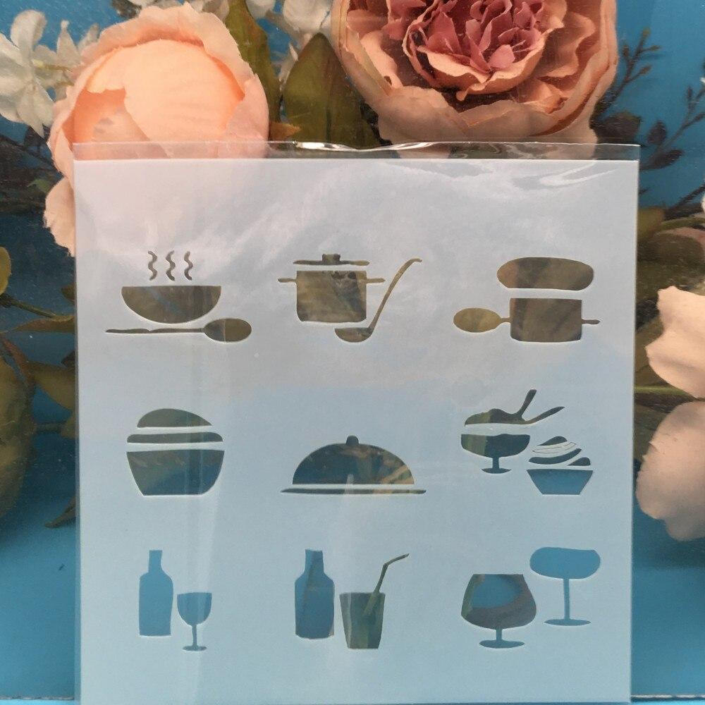 13 см кухонная посуда кухонные инструменты DIY ремесло наслоение трафареты настенная живопись штампованная для скрапбукинга тиснильный альбом шаблон бумажной карты|Вырубные штампы|   | АлиЭкспресс