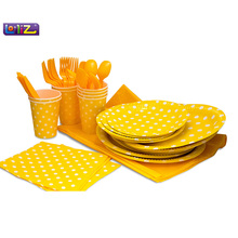 LolliZ Party Pack For 8, Yellow/Polka Dots Design Kids Birthday Party Decoration Set Party Supplies Baby Birthday Pack