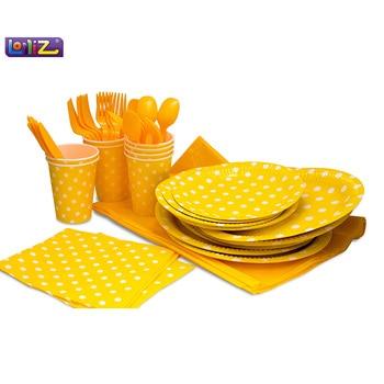 Lolliz вечерние пакет для 8, желтый/горошек Дизайн дети День рождения украшения комплект вечерние поставки ребенка день рождения pack